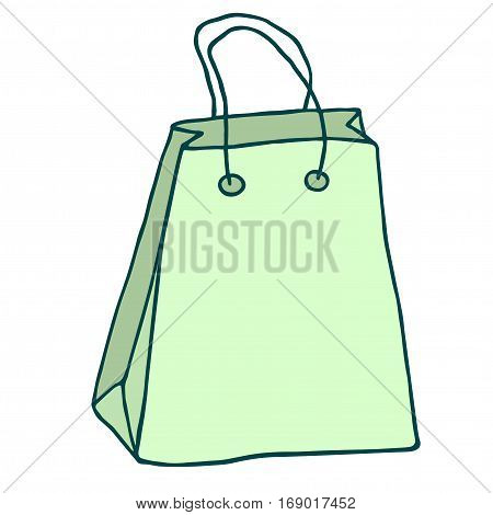 Green shopping bag with handles. Vector drawing. Isolated object on white backgrond.