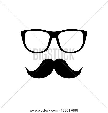 Mustache and glasses Icon.Vector glasses and mustache icon in black over white. Hipster elements illustration.