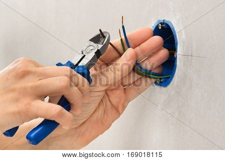 hands of electrician striping the insulation of wires with clippers