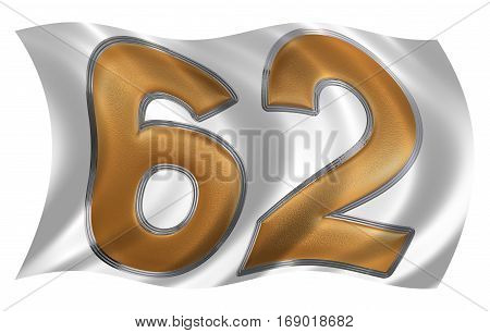 In The Wind Fluttering The Flag With Numeral 62, Sixty Two, Isolated On White Background, 3D Render