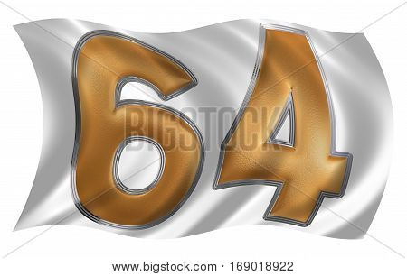 In The Wind Fluttering The Flag With Numeral 64, Sixty Four, Isolated On White Background, 3D Render