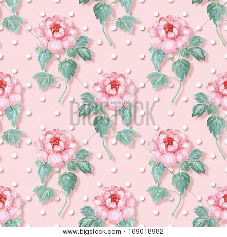 Seamless pattern. Pink flowers. Polka dot background 3