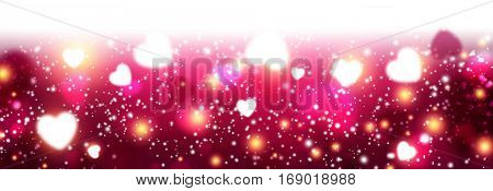 Valentine's pink luminous banner with hearts. Vector illustration.