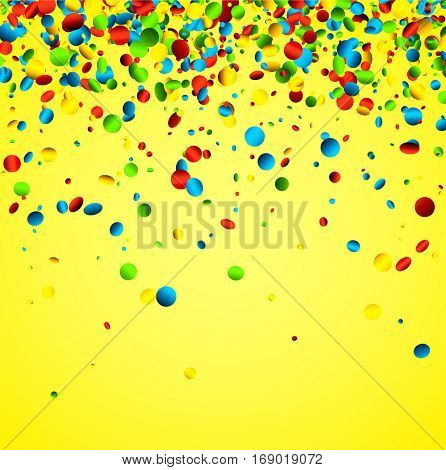 Festive yellow background with colorful glossy confetti. Vector illustration.