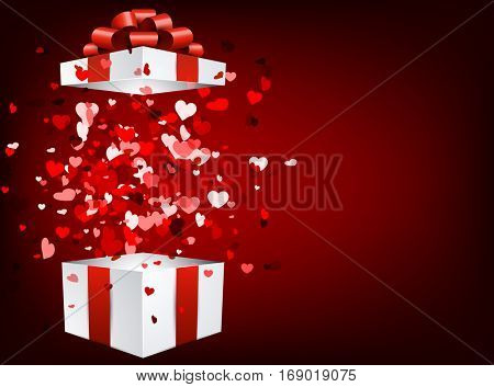Red love valentine's background with 3d gift and hearts. Vector illustration.