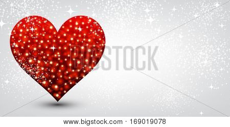 Valentine's love background with red heart. Vector illustration.