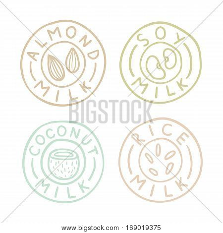 Almond, soy, coconut, rice milk badges. Vector EPS10 hand drawn illustration
