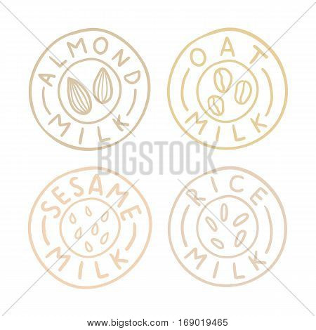 Almond,oat, sesame, rice milk badges. Vector EPS10 hand drawn illustration