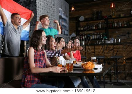 Cheerful friends with France flag emotionally watching soccer game in sport bar