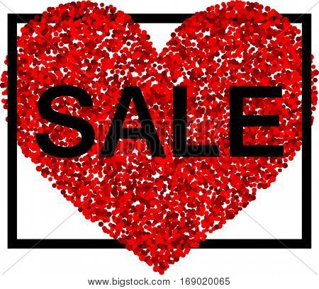 Valentine's sale background with red heart. Vector illustration.