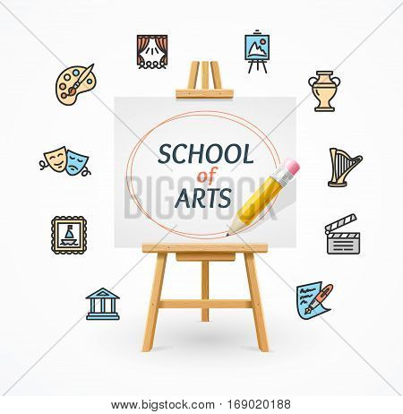 Art School Concept with Easel and Culture or Creative Fine Art Line Icons. Vector illustration