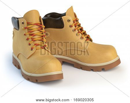 Yellow man�´s  boots isolated on white background. 3d illustration
