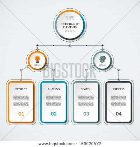 Infographic template with 2 option circles and 4 columns. Modern minimalistic vector banner what can be used as chart diagram graph table workflow layout for web report business presentation
