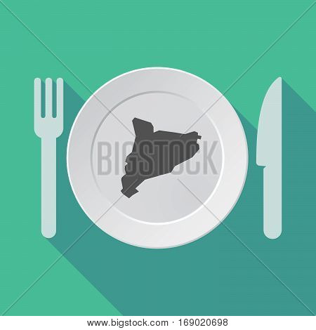 Long Shadow Tableware With  The Map Of Catalonia