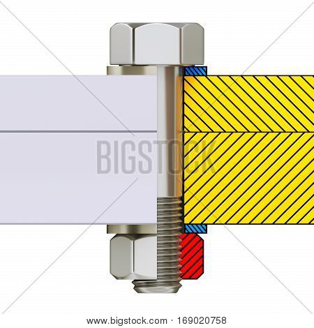 Cross section of screw connection with bolt, nut and washer isolated on white background - 3D illustration