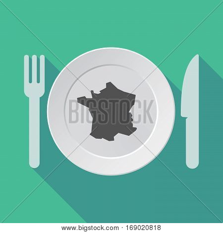 Long Shadow Tableware With  The Map Of France