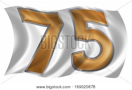 In The Wind Fluttering The Flag With Numeral 75, Seventy Five, Isolated On White Background, 3D Rend