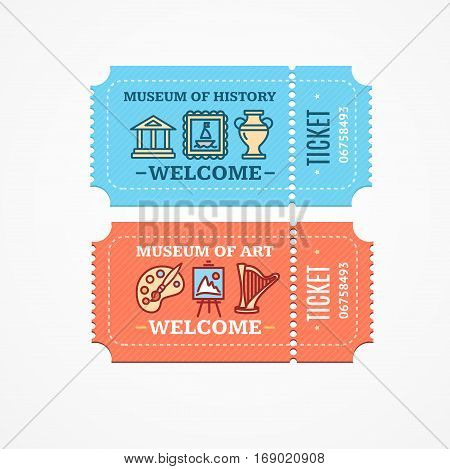 Tickets Museum of History or Art Set Admit Exposition Flat Design Style. Vector illustration