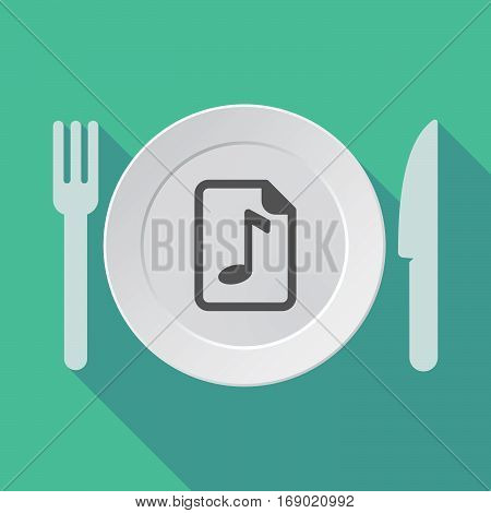 Long Shadow Tableware With  A Music Score Icon