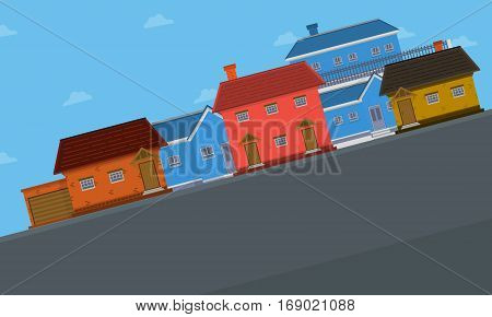 Lined house landscape of vector flat collection stock