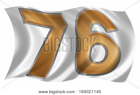 In The Wind Fluttering The Flag With Numeral 76, Seventy Six, Isolated On White Background, 3D Rende