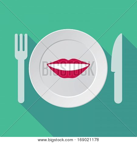Long Shadow Tableware With  A Female Mouth Smiling
