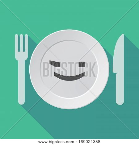 Long Shadow Tableware With  A Wink Text Face Emoticon