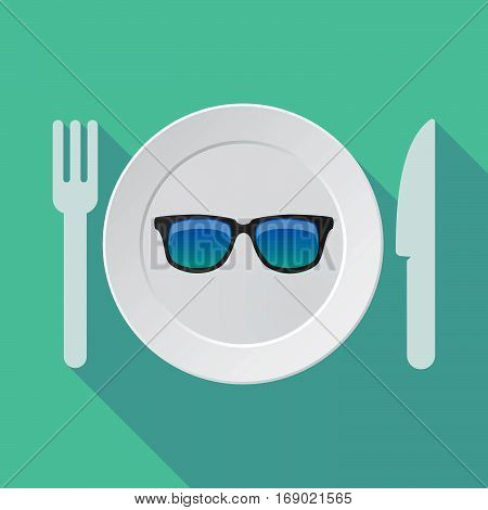 Long Shadow Tableware With  A Sunglasses Icon