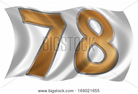 In The Wind Fluttering The Flag With Numeral 78, Seventy Eight, Isolated On White Background, 3D Ren
