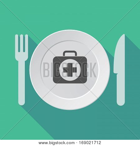 Long Shadow Tableware With  A First Aid Kit Icon