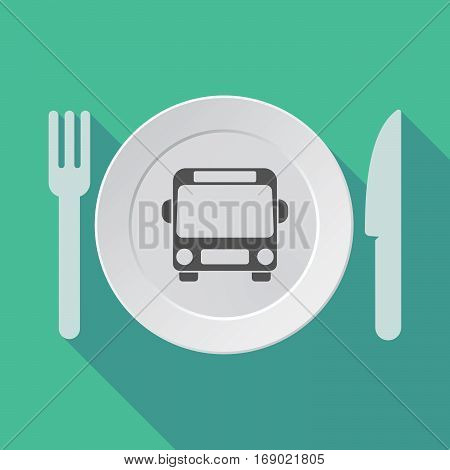 Long Shadow Tableware With  A Bus Icon