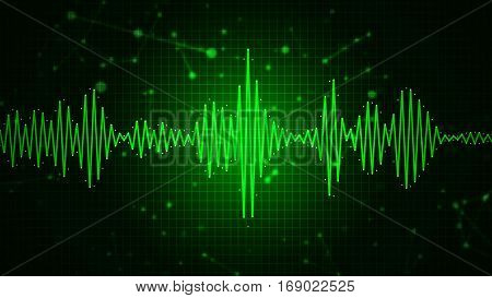 Audio spectrum waveform abstract graphic display for sound music recording speech and voice recognition background