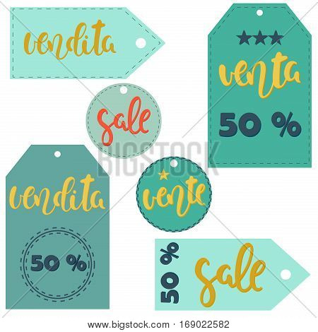 Vector sticker illustration. Sale vente venta vendita. Labels in different languages.