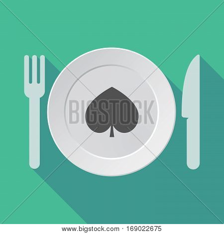 Long Shadow Tableware With  The  Spade  Poker Playing Card Sign