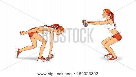 Young woman doing exercises with dumbbells: squat diverting arms and lunges forward with a slope. On a white background.