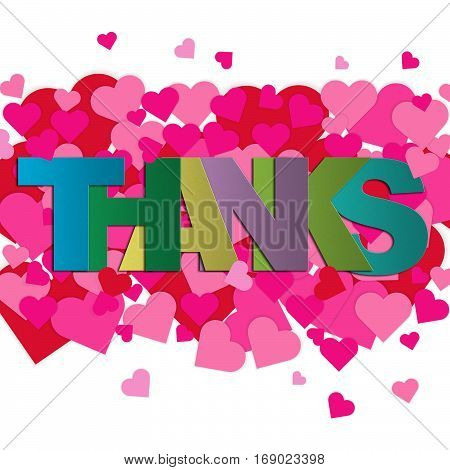 Thank you card with pink and red hearts on white background with word THANKS