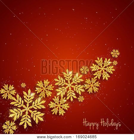 Vector Christmas New Year greeting card with sparkling glitter golden textured snowflakes on red background. Seasonal holidays background