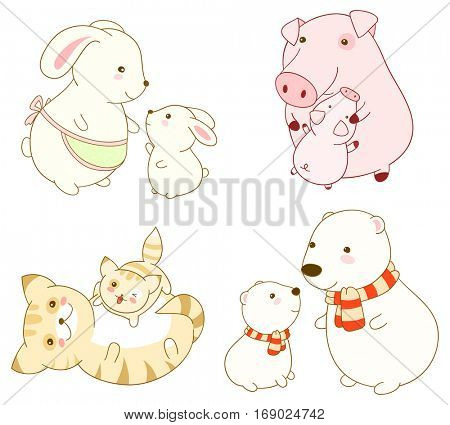 Set of cute cartoon animals in kawaii style. Mothers with babies.  Rabbit, pig, cat and polar bear