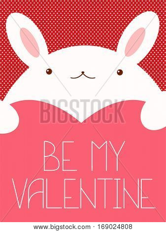 Be my Valentine. Valentine's day banner, background, flyer, placard in hand drawn style with cute rabbit. Holiday poster for scrapbooking. Template card for greeting, decoration, congratulation