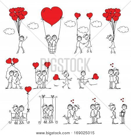 Valentine doodle boy and girl in love. Vector line illustration