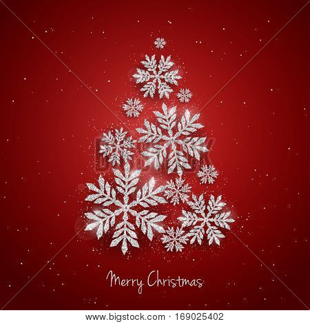 Vector Christmas New Year greeting card with sparkling glitter golden textured snowflakes make Christmas tree shape on red background. Seasonal holidays background