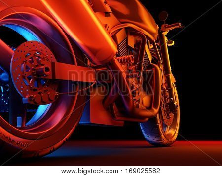 Graphical representation of the Motorcycle on a black background.,3d render