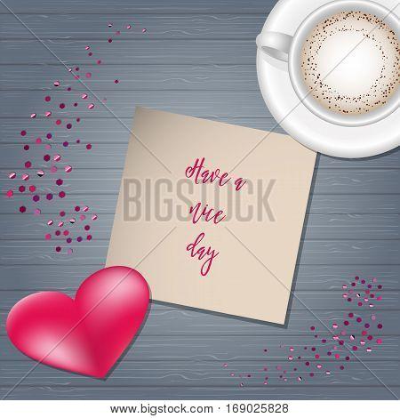 Valentine Day Scene Creator Mock up Coffee Cup, Confetti Heart, Post Card