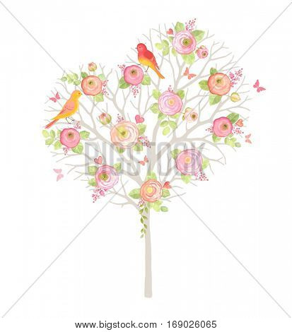Beautiful gentle tree in the form of heart with little birds, flowers Ranunculus and butterflies. Vector illustration for wedding day and Valentine's. Love floral symbol.