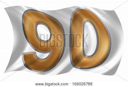 In The Wind Fluttering The Flag With Numeral 90, Ninety, Isolated On White Background, 3D Render