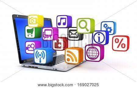 Laptop and many multimedia symbol. 3d illustration