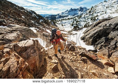 Man with hiking equipment walking in Sierra Nevada  moutntains,California,USA
