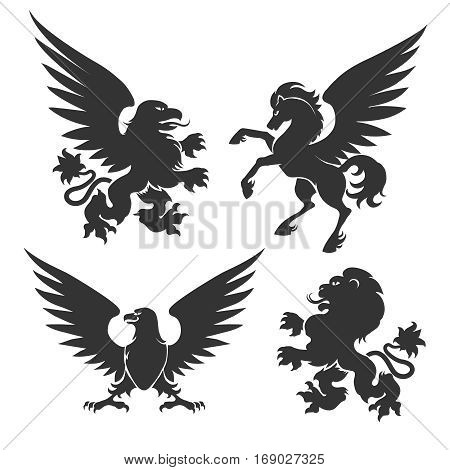 Arms coat animals isolated on white background. Heraldic symbols like lion and horse, winged griffin and eagle signs vector illustration