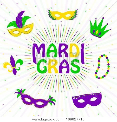 Vector illustration of purple, yellow, green mardi gras greeting card with typography text sign, fleur de lis, carnival mask, jester hat, beads