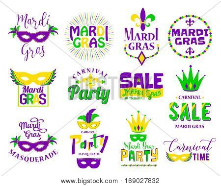 Mardi Gras lettering typography set. Emblems, logo with text sign, masquerade mask, feathers, beads, joker, fleur de lis for greeting cards, banners, gift for fat tuesday, carnival, party, sale